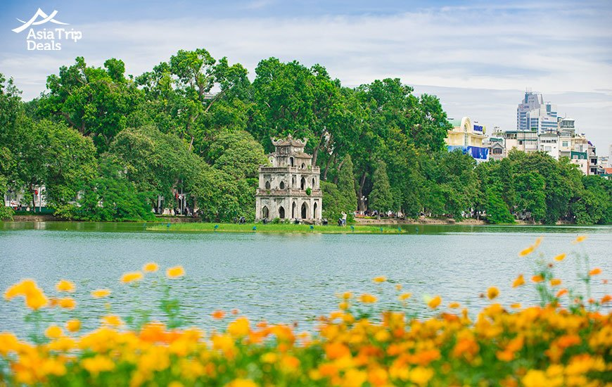 Turtle Tower at Hoan Kiam lake Hanoi
