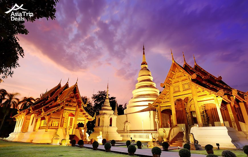 Phra Singh temple at twilight, Thailand
