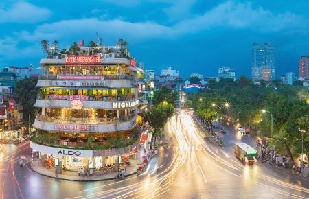 Hanoi cityscape at twilight