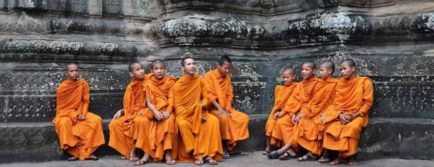 Buddhist monks in one of temples of Angkor Wat