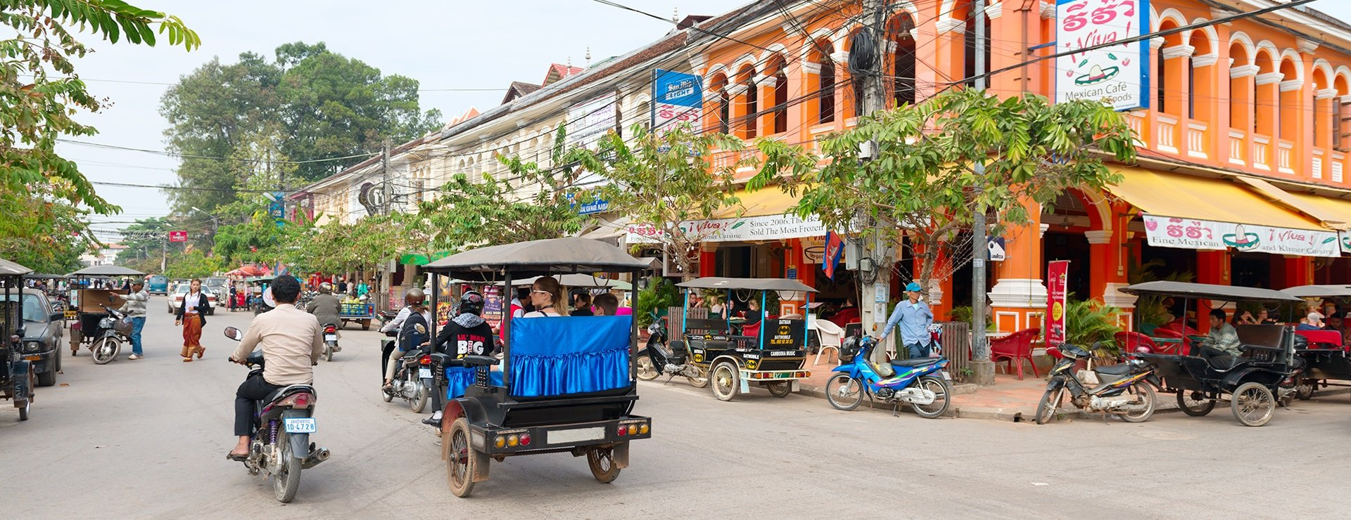 Colonial buildings in Siem Reap, Cambodia