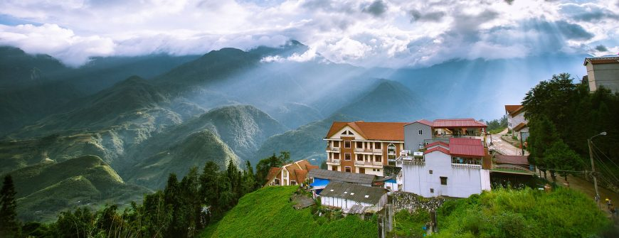 incredible view of Sapa tropical forest and mountain in the mist