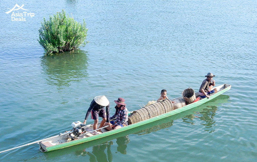 cruising on mekong river in laso