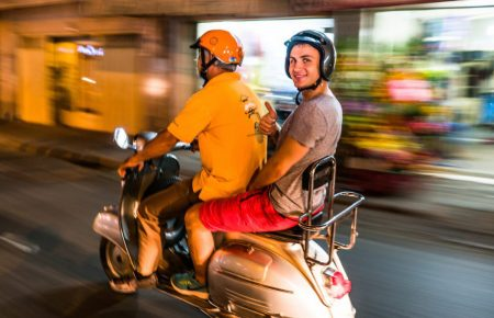 "Explore ""Saigon after Dark"" on Vespa"