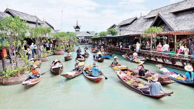 Floating market in Cambodia