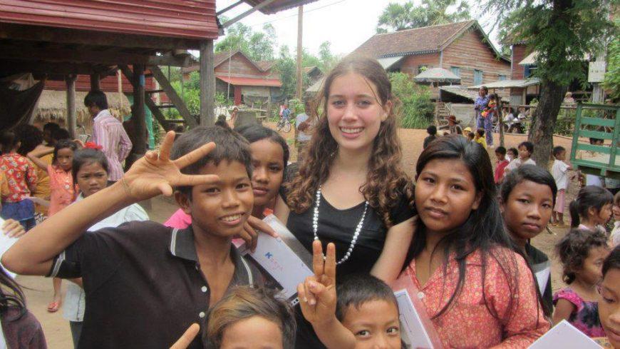 Volunteer in a Cambodia village