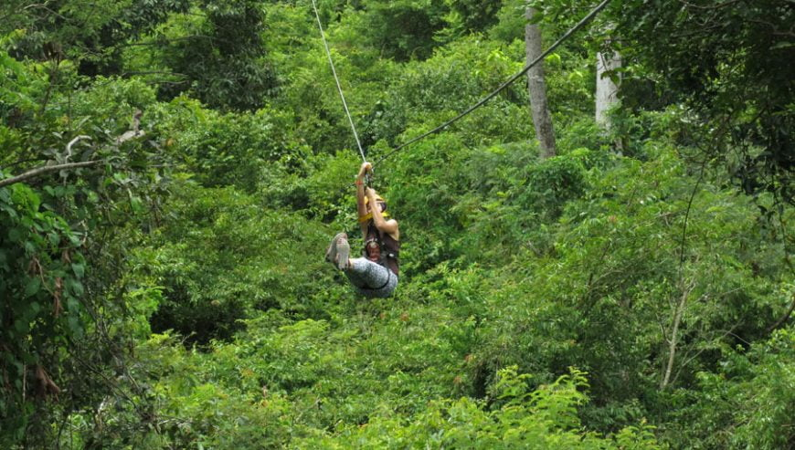 Experiecing zipline in Cambodia