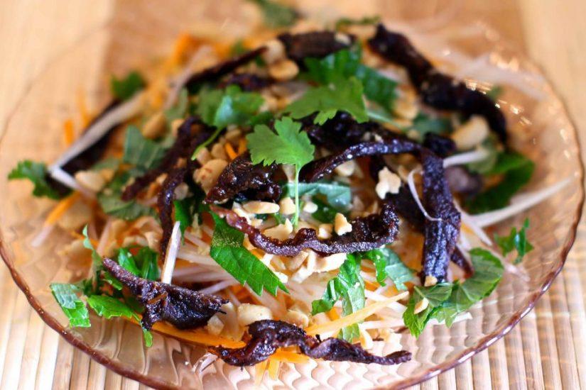 Nom Bo Kho (Dried Beef Salad), Vietnam popular street food