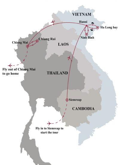 13 Days Cambodia Vietnam Thailand at a glance map