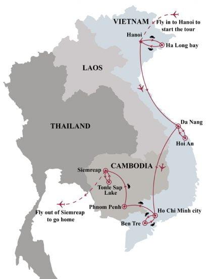 13 days tour of Vietnam Cambodia best picks tour map