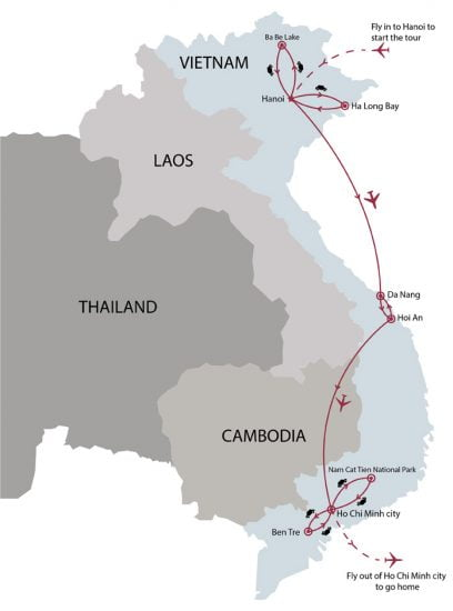16 day Vietnam top attractions nature wildlife tour map