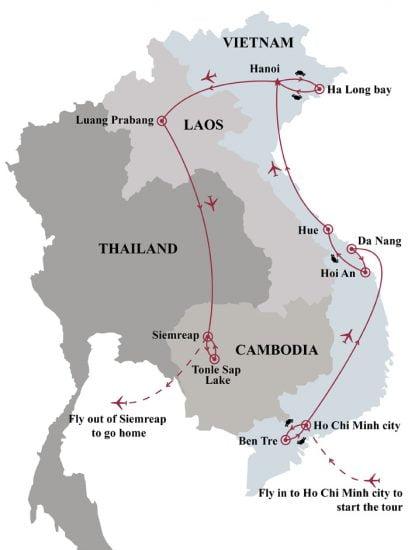 17 days pilgrimage of Indochina map