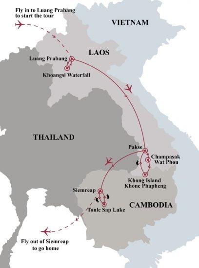 2 week adventure of laos angkor wat map