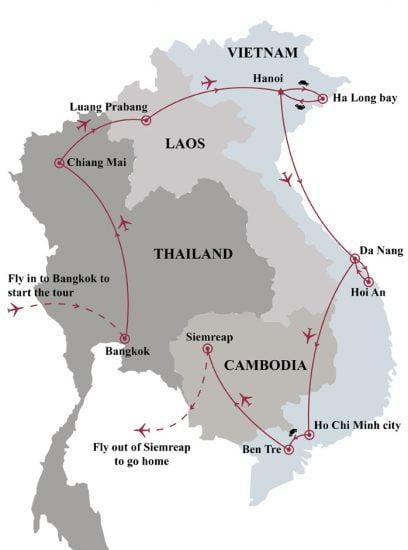 3 week journey through thailand laos vietnam cambodia map