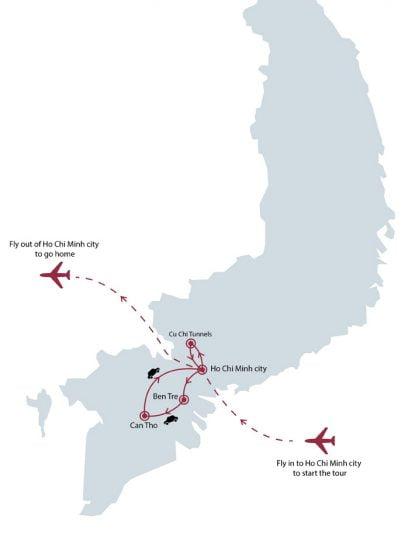 5 days southern Vietnam highlights tour map