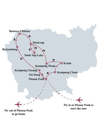 Cambodia in depth 14 days tour map