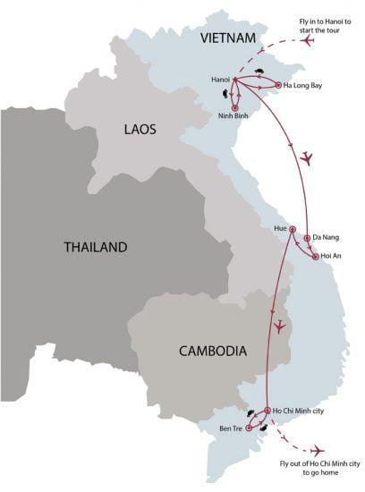 Classic Vietnam 12 days tour map