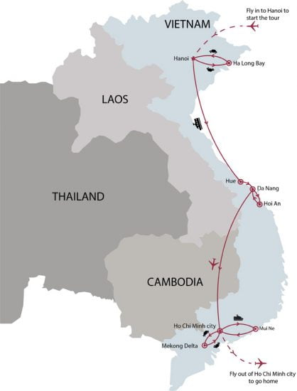 Classic Vietnam and beach break 15 days tour map