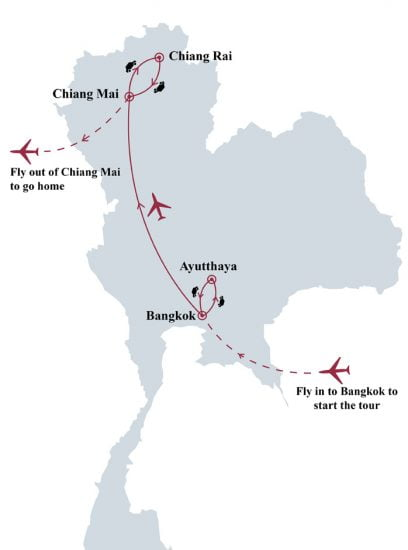 Cultural and historical Thailand 9 days tour map