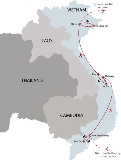 Essential Vietnam tour 10 days map