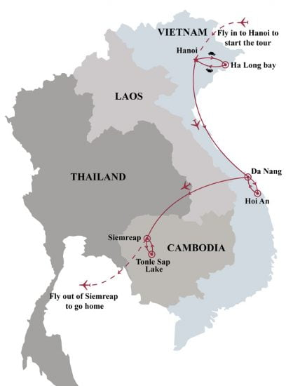 Exploring world heritages of vietnam cambodia 10 days map