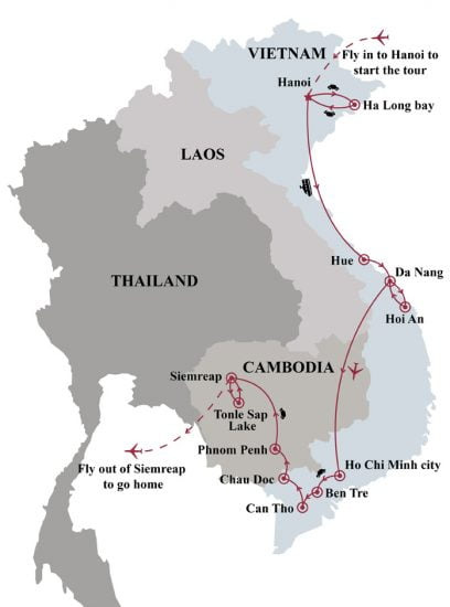 From Vietnam to Cambodia through Mekong river 16- map