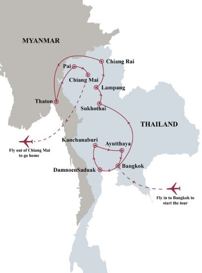 Thailand in depth 15 days tour map
