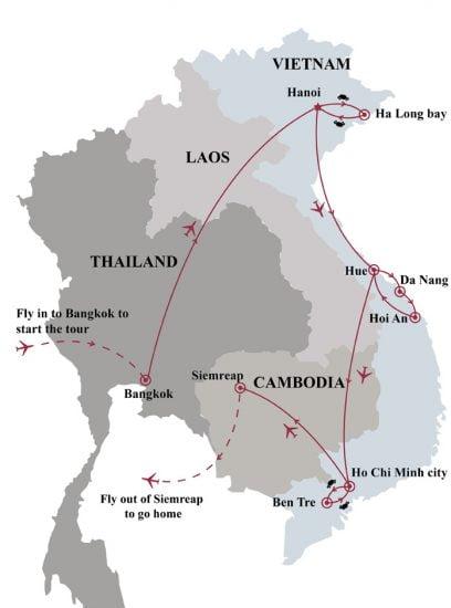 Tour of Bangkok Vietnam Angkor Wat 17 days map