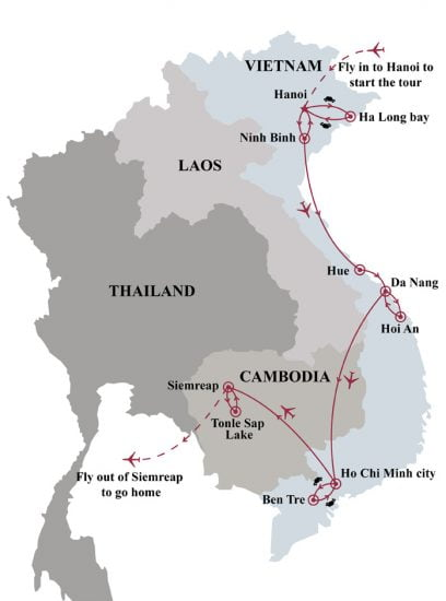 Vietnam Angkor temples discovery 15 days tour map