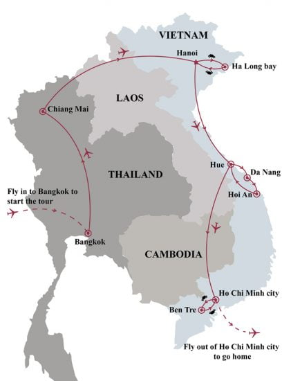 Vietnam Thailand discovery 17 days map