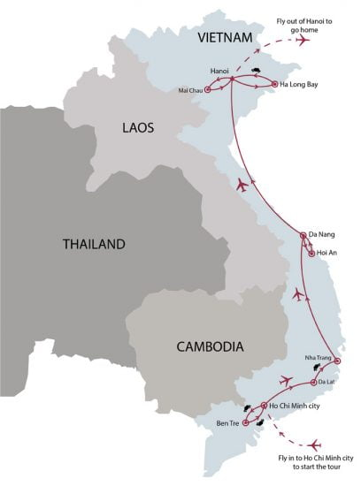 Vietnam in style 15 days tour map