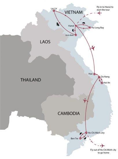Vietnam special 15 days tour map
