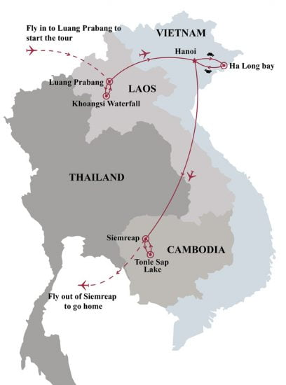 Indochina overview 12 days map