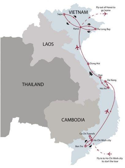 Vietnam explorer 17 days tour map